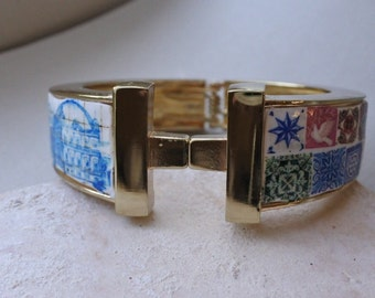 Portugal Antique AZULEJO Tile Replica BRACELET  Great View of Lisbon 1700 pre-earthquake tsunami / Collage Mosaic Color OOAK Bangle