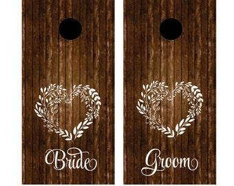 Wedding Cornhole Board decals, rustic wedding decoration, heart wreath, bride and groom, heart wreath, country wedding, cornhole decals
