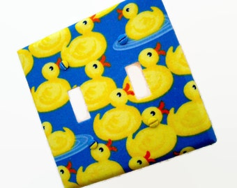 Duck Light Switch Cover - Yellow Blue Ducks Switch Plate - Duck Bathroom Decor - Boys Nursery Decor - Girls Nursery - Duck Outlet Covers