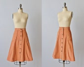 1970s Skirt / Corduroy Skirt with Cargo Pockets / Midi Skirt / Nectar