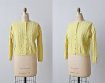 Yellow Wool Cardigan Sweater / Button Down Sweater / Cable Knit Sweater / Buttercup