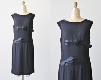 Vintage 1960s Dress / 60s Navy Blue Sheath Dress Set with Jacket / Satin Bows / Size Medium