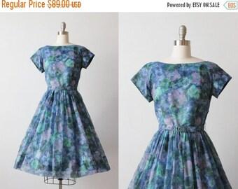 On SALE Vintage 1950s Chiffon Party Formal Dress / 50s Dress / Floral Watercolor Print / Size Medium