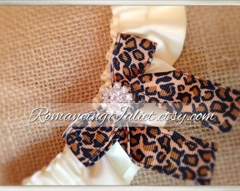 Skirted Satin Bridal Garter Rhinestone Accents....You Choose The Colors..Shown in ivory/cheetah