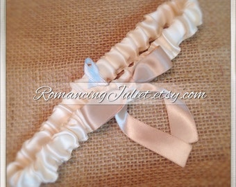 Simple Satin Bridal Garter with BONUS Something Blue..You Choose The Colors..shown in ivory/champagne
