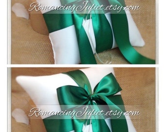 Romantic Satin Ring Bearer Pillow...You Choose the Colors...SET OF 2...shown in ivory/green