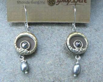 Antique Button Earrings, Victorian Era, Up cycled, Vintage, Earrings, OOAK