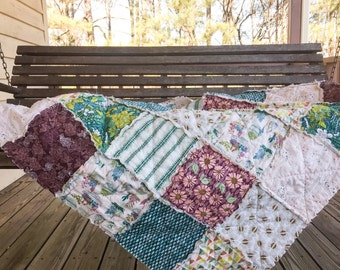 Quilts, king queen full twin, Rag Quilt, YOU CHOOSE SIZE, Succulents fabrics, plum a d teal, comfy cozy handmade bedding
