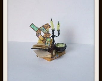 dollhouse miniature Exploding Spell tray Potion Witch ooak Glows in Dark Can be custom made too