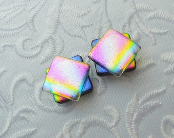 Dichroic Fused Glass Post Earrings - Dichroic Stud Earrings - Friendship Jewelry - Post Earrings - Rainbow Earrings X1641