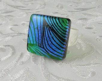 Fused Glass Ring - Dichroic Fused Glass Ring - Metal Ring - Glass Ring - Geekery Jewelry - Dichroic Jewelry - Large Jewelry X4781