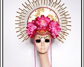 Golden Saints… Pink and Gold Headdress With Halo Virgin Mary Guadalupe Inspired