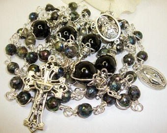 Catholic Rosary, Mans Labrodite and Sterling Silver,fathers day. Mans Rosary,Ladies Rosary, Sacred Heart of Jesus