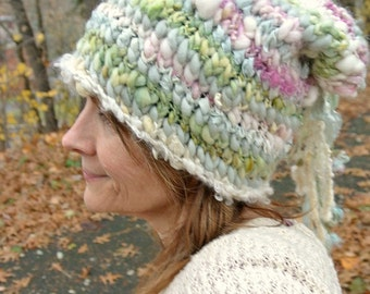hand knit slouchy hat soft art yarn fairy fantasy hat -  soft garden hat