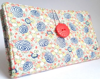 Handmade Tampon and Pad Clutch in Poppy Red Navy Blue Aqua Floral Print - Mary's Garden