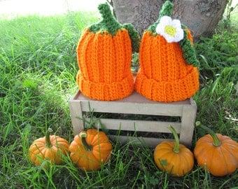 Baby pumpkin hat Halloween Fall Autumn boy girl