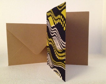 African Print Fabric Kraft Note Cards