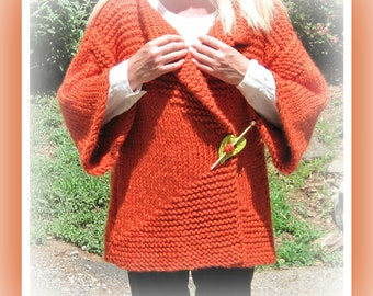 Knitting Pattern Bulky Knit Open Jacket One Size from Small to Large