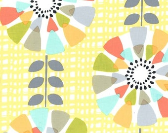 Petal Pinwheels Fabric - Mid Century Fabric - Michael Miller Fabric - Canary Yellow - Michael Miller Discontinued - Floral Modern Fabric