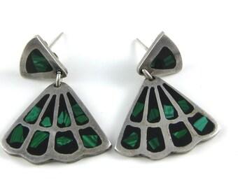 Vintage Sterling Silver Green Malachite Fan Shaped Dangle Earrings Signed TC-244 Mexico