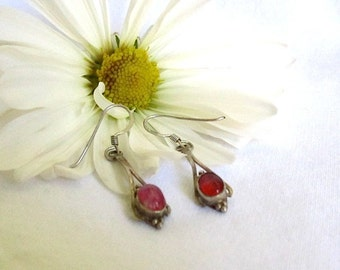 925 Antique Silver Earrings with Ruby