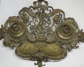 An Ornate Antique Art Nouveau Writing Stand with Double Ink Wells
