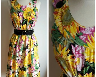 Vintage Sunflower Spring Dress, Medium