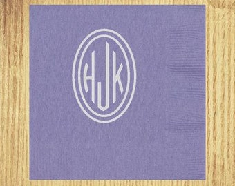 Hydrangea Cocktail Napkins: Your Choice of Monogram and Ink Color