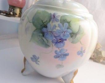 Vintage Hand Painted Jewelry Safe Jardiniere Sweet Violets