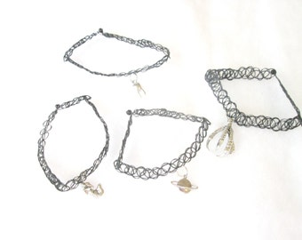 Black Tattoo Choker with Your CHOICE of Charm