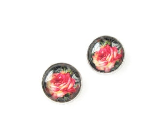 Pink Rose 12mm Stud Earrings