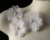 3 WHITE Beaded Lace Flower Appliques for Lyrical Dance, Bridal, Headpieces, Sashes, Costume Design WA 600