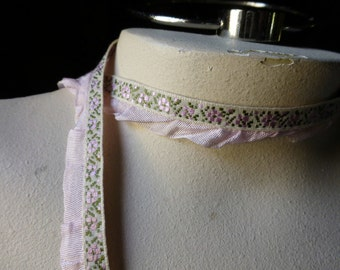 3 yds. Pink Ribbon with Ruffle for Garments, Costumes, Crafts