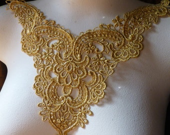 GOLD Lace Applique Metallic for Lyrical Dance, Bridal, Jewelry Supply, Costume Design CA 803gold