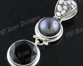 """1 5/8"""" onyx freshwater 925 sterling silver pendant"""