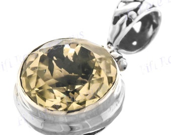 """1"""" Gorgeous 4.5ct Lemon Quartz 925 Sterling Silver Pendant"""