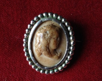 French antique lava cameo brooch