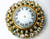 Clockface Glam Pin, Porcelain Button w Numerals, Rainbow Jeweled Aurora Borealis GLASS Rhinestones, Pearls and Gold 1960s Brooch