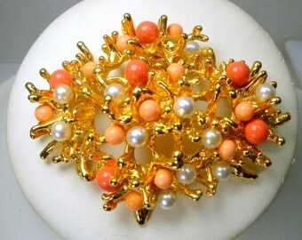 Brutalist Gold, Pearl, Faux Coral Pin, Pendant, HOBE Style Large Brooch, Very Shiny with 2 Colors of Coral Salmon, Unused,
