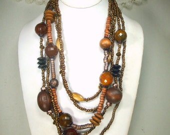 Brown Multistrand Necklace w Wood, Glass and Resin, For the Earthy Bead Lover of Tribal Beads