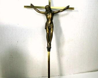 Wall Crucifix Large, Metal Cross, Metal Corpus, Christ Jesus, Religious, 1980s Catholic Christian, USED As Is