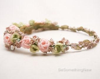 Vintage Flower Crown in Blush Pink and Green, Wedding Bridal Wreath Rustic Wedding Flower Crown Woodland Wedding Headband