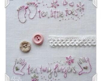 Ten Little Toes - 4 baby stitchery patterns