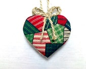 Christmas Heart Ornament | Winter Decor | Party Favor | Tree Ornament | Holidays | Decoration | Fabric Heart | Handmade | Christmas Decor #2