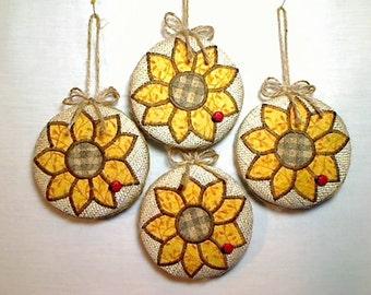 Sunflower/Pumpkin Ornaments | Fall Decor | Party Favor | Thanksgiving Decor | Halloween Decor | Tree Ornaments | Handmade Gift | Set/4 | #2