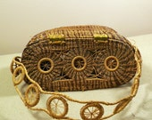 Vintage Hand Made Pine Needle Straw Woven Basket Style Purse-Detailed Pattern - VG