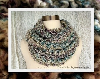Crocheted Blue White Purple Gray Bulky Infinity Scarf