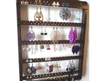 Earring Holder Necklace Organizer, Jewelry Storage Wall Mounted, Cocoa Brown Stained Oak Hardwood, Hanging Earring Rack