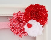 Valentines Day Headband- Shabby Chic Elastic- Girls Sweetheart Cupid Hair Clip- Babys first Valentines- Sweetest Day Infant Toddler Preemie