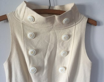 VIntage Sailor Style Ivory Wool Dress, Size Small